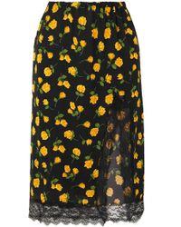 Michael Kors - Lace-trimmed Floral-print Silk-crepe Skirt - Lyst