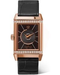 Jaeger-lecoultre - Reverso Classic Duetto Medium 24.4mm Rose Gold, Diamond And Alligator Watch - Lyst