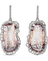 Kimberly Mcdonald - 18-karat Blackened White Gold, Diamond And Geode Earrings - Lyst