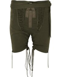 Saint Laurent - Lace-up Cotton And Linen-blend Twill Shorts - Lyst