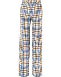 Victoria Beckham - Checked Wool And Mohair-blend Wide-leg Trousers - Lyst