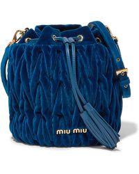 Miu Miu - Leather-trimmed Matelassé Velvet Bucket Bag - Lyst