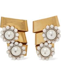 Miu Miu - Gold-plated Crystal And Faux Pearl Clip Earrings - Lyst
