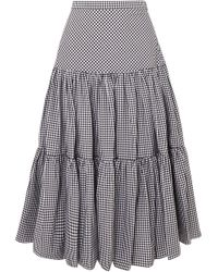 Michael Kors - Tiered Gingham Cotton-poplin Maxi Skirt - Lyst