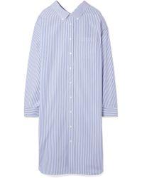 Balenciaga - Striped Cotton-poplin Shirt Dress - Lyst