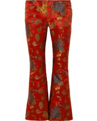 Marques'Almeida - Floral Satin-jacquard Cropped Flared Pants - Lyst