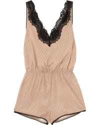 Stella McCartney - Poppy Snoozing Lace-trimmed Printed Stretch Silk-satin Playsuit - Lyst