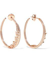 Stephen Webster - Magnipheasant 18-karat Rose Gold Diamond Hoop Earrings Rose Gold One Size - Lyst