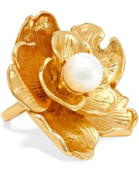 Kenneth Jay Lane - Gold-tone Faux Pearl Ring Gold One Size - Lyst