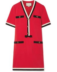 Gucci - Mini-robe En Mailles Point De Rome Stretch Et En Gros-grain - Lyst