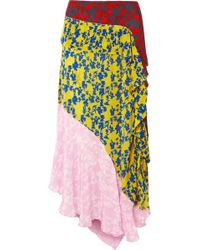 Preen Line - Isabelle Asymmetric Panelled Crepe De Chine Midi Skirt - Lyst