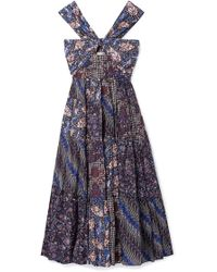 7ac85429d3d Ulla Johnson - Naaila Cutout Printed Cotton And Silk-blend Midi Dress - Lyst