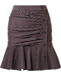 Veronica Beard - Ruched Striped Cotton Mini Skirt - Lyst