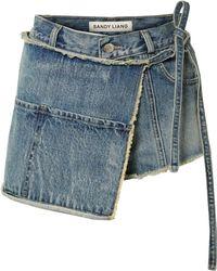 Sandy Liang - Perry Asymmetric Distressed Denim Shorts - Lyst