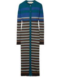 Marni - Striped Ribbed Wool Cardigan - Lyst