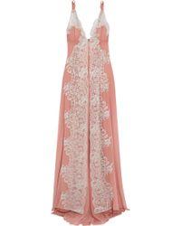 Rosamosario Sweet Sumatra Metallic Lace-paneled Silk-georgette Nightdress - Pink