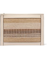 Aerin | Textured Leather-trimmed Striped Straw Pouch | Lyst
