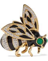 Kenneth Jay Lane - Gold-plated, Crystal And Enamel Brooch - Lyst
