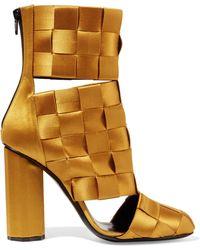 Marco De Vincenzo - Cutout Basketweave Satin Ankle Boots - Lyst