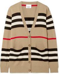 Burberry Oversized Striped Merino Wool Cardigan - Natural