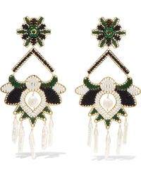 Mercedes Salazar - Tropic Gold-tone, Bead And Faux Pearl Clip Earrings - Lyst