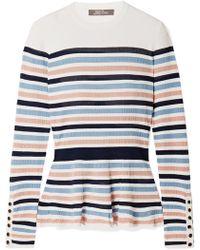 Lela Rose - Striped Ribbed Stretch-knit Peplum Sweater - Lyst