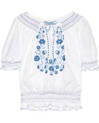 Muzungu Sisters - Dora Smocked Embroidered Cotton-poplin Blouse - Lyst