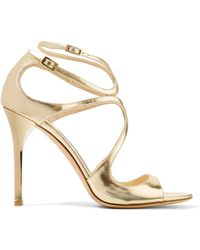 Jimmy Choo | Lang Metallic Leather Sandals | Lyst