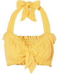 She Made Me - Kali Bow-embellished Halterneck Crinkled-cotton Top - Lyst