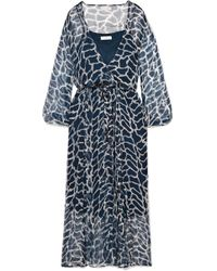 Cloe Cassandro - Jemima Giraffe-print Silk-crepon Wrap Midi Dress - Lyst