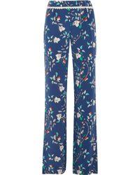 Paloma Blue - Portofino Crochet-trimmed Printed Silk-satin Wide-leg Trousers - Lyst