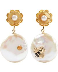 Of Rare Origin - Bee Gold Vermeil, Pearl And Sapphire Earrings - Lyst