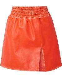 Miu Miu - Distressed Leather Mini Skirt - Lyst