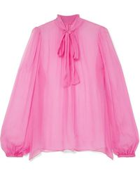 Dolce & Gabbana - Pussy-bow Silk-crepon Blouse - Lyst