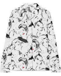 Michael Kors - + David Downton Printed Silk Crepe De Chine Blouse - Lyst