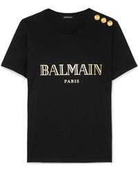 Balmain - Button-embellished Printed Cotton-jersey T-shirt - Lyst