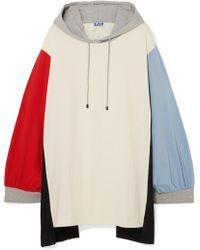SJYP - Oversized Hooded Color-block Cotton-jersey Mini Dress - Lyst