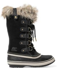 Sorel - Joan Of Arctic Waterproof Faux Fur-trimmed Suede And Rubber Boots - Lyst