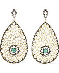 Loree Rodkin - Spiderweb 18-karat Rhodium Gold, Emerald And Diamond Earrings - Lyst