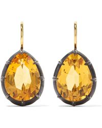 Fred Leighton - Collection 18-karat Gold, Sterling Silver And Citrine Earrings - Lyst