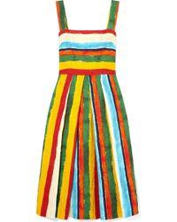 Dolce & Gabbana - Pleated Striped Brocade Midi Dress - Lyst