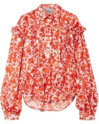 Preen By Thornton Bregazzi - Miranda Ruffled Printed Devoré Silk-blend Chiffon Blouse - Lyst