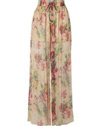 Zimmermann - Melody Floral Print Silk Trousers - Lyst