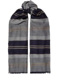 Johnstons - Fringed Striped Cashmere Stole - Lyst