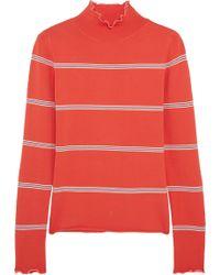 Topshop Unique - Margot Striped Stretch-knit Turtleneck Top - Lyst