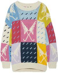Topshop Unique - Lindbergh Oversized Intarsia Cotton Sweater - Lyst