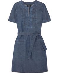 A.P.C. - Jess Pintucked Cotton-chambray Dress - Lyst