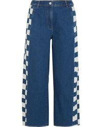 Kéji - Cropped Checked Jeans - Lyst
