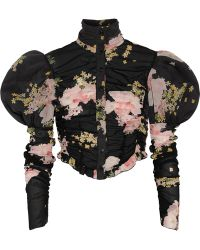 Alessandra Rich | Floral Print Puffy Sleeve Blouse | Lyst