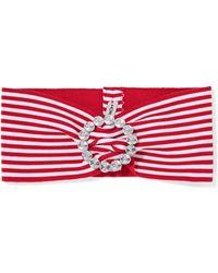 Alessandra Rich - Crystal-embellished Striped Stretch-knit Headband - Lyst